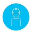 Worker wearing hard hat line icon vector image vector image