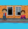 young boys in broken street vector image vector image