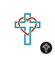heart and cross love religion theme logo vector image