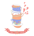 Tea party card with a stack of cute colorful cups vector image