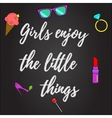Girls enjoy the little things background vector image