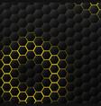 abstract hexagonal black tech on yellow vector image vector image