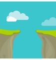 Abyss gap or cliff concept with sky and clouds vector image vector image