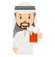 arab with beer on white background vector image vector image