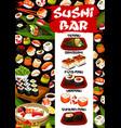 asian sushi bar menu seafood sashimi maki rolls vector image vector image