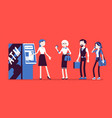 atm line and female assistant helping clients vector image vector image