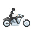 bearded man riding motorcycle side view male vector image