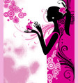 black silhouette a young slim girl in pink vector image
