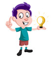 boy with lighting bulb on white background vector image vector image