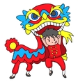 Boy With Lion Dancing Traditional Celebration vector image