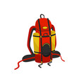 bright red backpack with two hiking mats large vector image