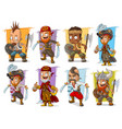 cartoon warrior with sword and axe character set vector image vector image