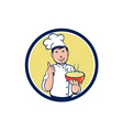 Chef Cook Bowl Pointing Circle Cartoon vector image vector image