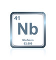 chemical element niobium from the periodic table vector image vector image