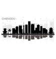 chengdu china city skyline black and white vector image vector image