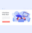 christian event concept landing page vector image vector image