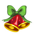 christmas toy in the form of red bells with green vector image