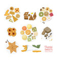 collection of drawings of oriental sweets isolated vector image vector image