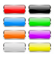 colored buttons set shiny 3d glass rectangle vector image vector image