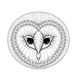 coloring page with owl head entangle stylized vector image vector image