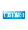 customer blue square 3d realistic isolated web vector image vector image