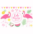 cute princess pink flamingo set modern cartoon vector image
