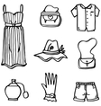 Doodle of women fashion hand draw vector image