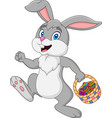 easter bunny rabbit with easter basket full of dec vector image