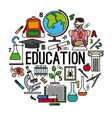 Education concept round label vector image vector image