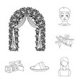 event organisation outline icons in set collection vector image vector image