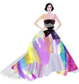girl with black hair and crown in long dress vector image vector image
