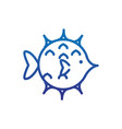 globefish animal marine life thick line blue vector image vector image