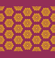 golden thai floral pattern seamless on red vector image