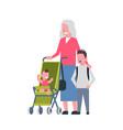 grandmother with baby grandchildren in stroller vector image vector image