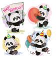 happy birthday set with baby panda bears vector image vector image