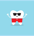 happy healthy tooth in sunglasses and swimming vector image vector image