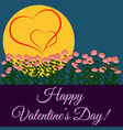 happy valentines day roses moon and two hearts vector image