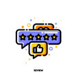 icon bubbles with five stars and hand thumb up vector image vector image