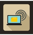 Laptop and and wireless icon flat style vector image vector image