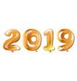 metallic gold balloons 2019 happy new year vector image vector image