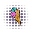 Mixed ice cream scoops in cone comics icon vector image vector image