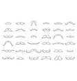 mustache collection coloring silhouette the vector image vector image