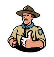 park ranger in uniform scout camping symbol vector image vector image
