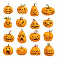 pumpkins with emotional faces for halloween party vector image vector image