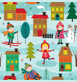 seamless pattern with kids in winter time outdoors vector image vector image