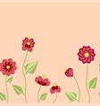 seamless pattern with summer flowers in pastel vector image
