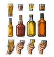 Set alcohol drinks with bottle glass and hand vector image