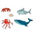 set marine sea life animals vector image vector image
