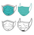 set medical respirator masks in engraving vector image