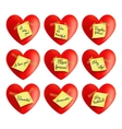 Set of hearts with inscriptions vector image